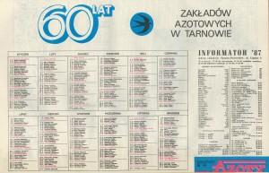 """Kalendarz """"Tarnowskich Azotów"""" 1987"""