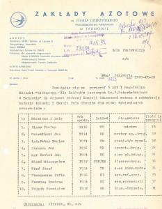 Pismo w sprawie odzanczeń zakładowych 1989