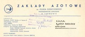Nagłówek pisma firmowego Zakładów Azotowych 1988