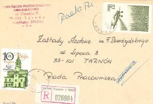 Koperta zaadresowana na Radę Pracowniczą Azotów 1988