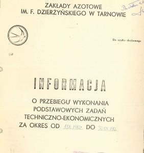 Karta tytułowa z przebiegu wynonania zadań techniczno-ekonomicznych 1982
