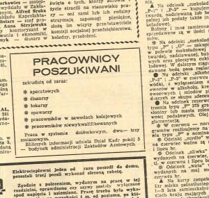 Oferta pracy w prasie 1982