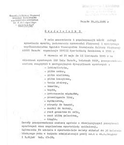 Pismo zakładowego Zarządu TKKF 1985