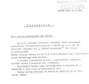Ogłoszenie w sprawie imprezy noworocznej dla dzieci 1984