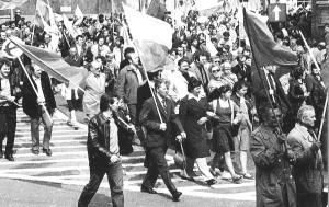 Pracownicy Azotów w pochodzie 1-majowym